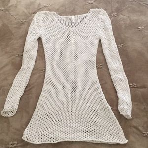 Elan white net cover up Sz small